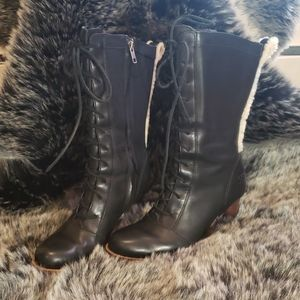 Ugg Black Leather Lace up high heel boots 6